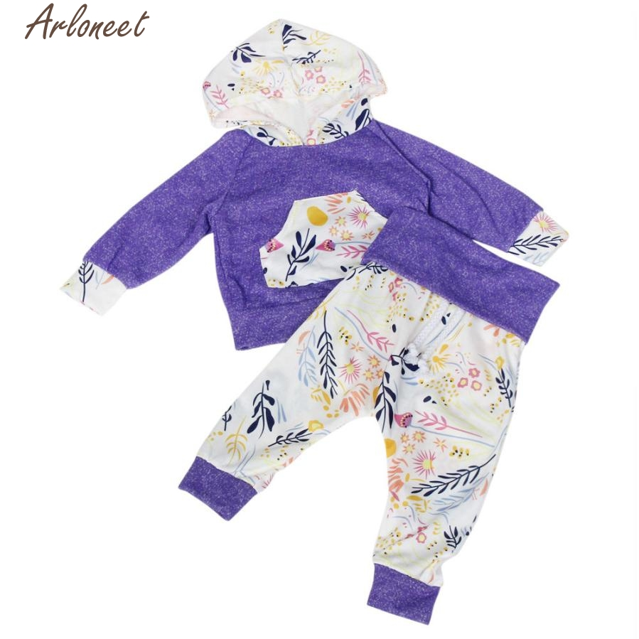 New Year Fashion Baby Boy Girl Clothes Newborn Baby Kid Floral Print Long Sleeve Top +Pants Outfits Hooded Clothes Set #