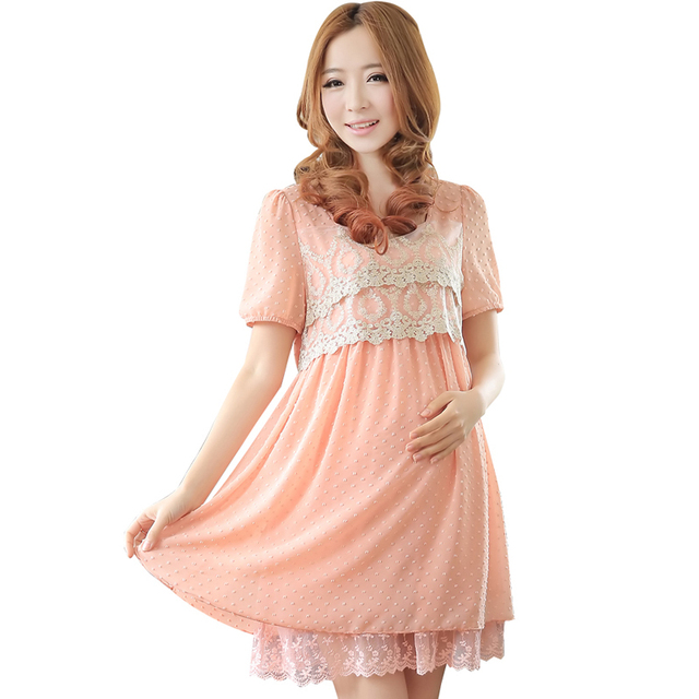 Free shipping Lace Maternity Dresses Chiffon Clothing One-piece Dress Summer Clothes For Pregnant Women 2016 New