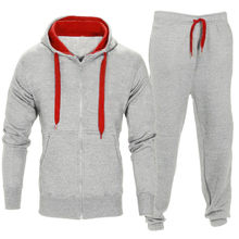 0424f0c36 Zipper Tracksuit Men Set Sporting Two Pieces Sweatsuit Mens Clothes Printed  Hooded Hoodies Jacket + Pants
