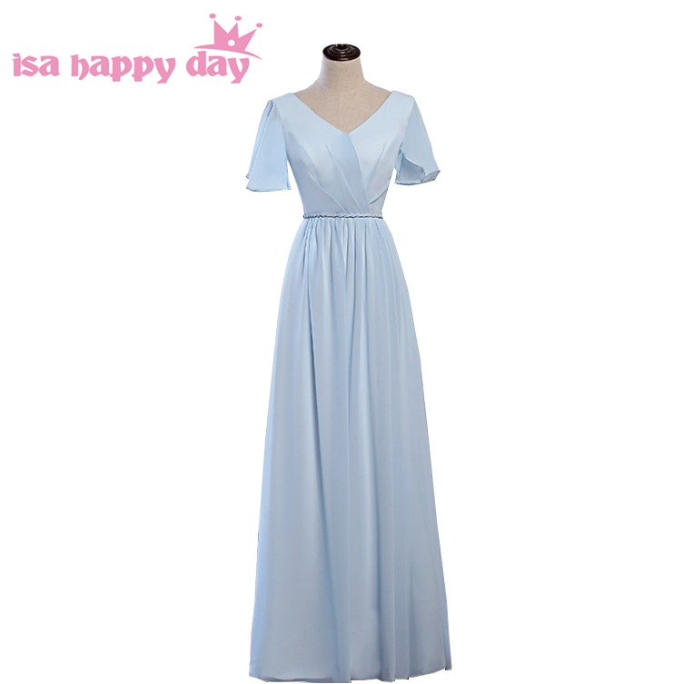 light blue chiffon bridesmaids v neck bridesmaid women of the bride dresses under 100 new fashion 2019 dress for maid H4264