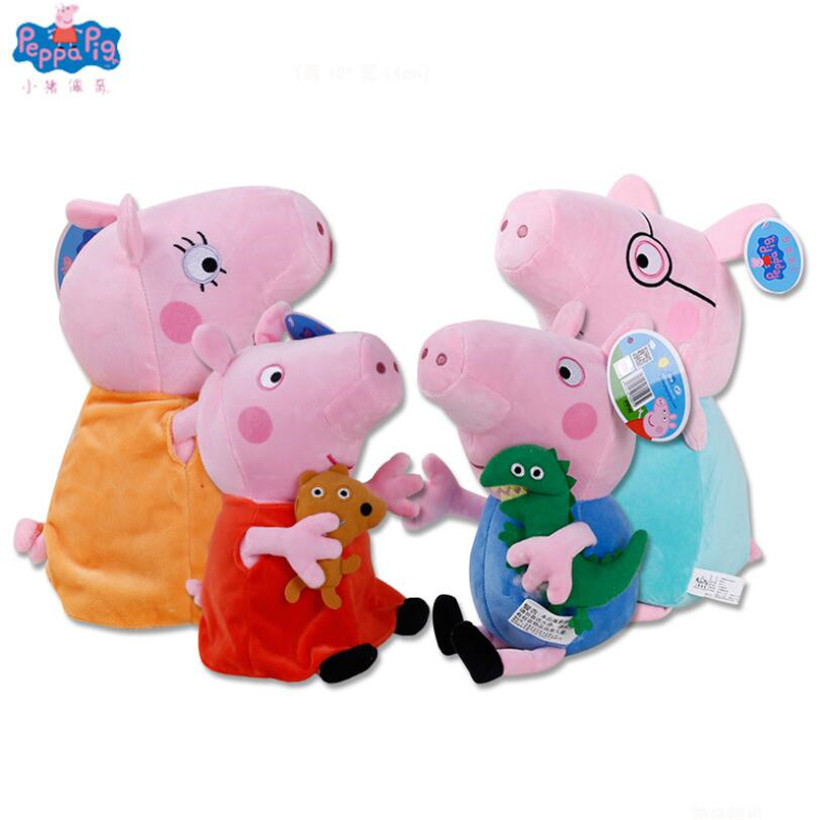 Peppa Pig George Dad Mom Family Fashion Animal Stuffed Doll Purse Plush Toys For Children Gifts