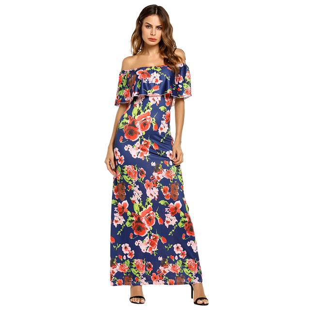 Alishebuy Women Ruffles Sexy Off Shoulder Maxi Dress Strapless