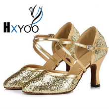 Silver Women Salsa Ballroom Tango Shoes Spain Pointed Toe Gold Latin Dance Shoes Soft Sole Sequined