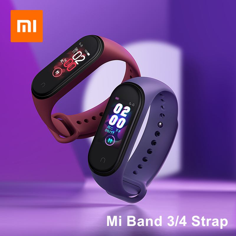 Xiaomi Mi Band 4 NFC Original Wrist Strap TPU Black Blue Orange Wine-red Pink Mi Band 3 4 Charging Cable Smart Accessories