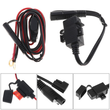 12V - 24V DC 5V 2.1A SAE to USB Cable Adapter Waterproof Motorcycle Charger with Extension Harness and Round Terminal 12v 24v relay harness control cable for h4 hi lo hid bulbs wiring controller