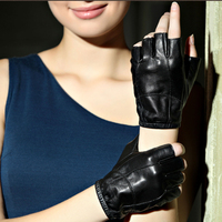 DL 11224 Fashion Winter Genuine Leather Gloves Autumn Soft Sheepskin Half Finger Short Gloves Driving Dancing