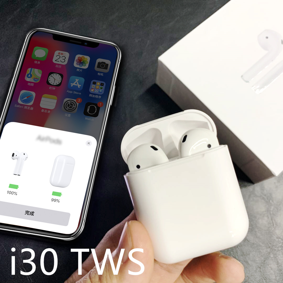 Tradeline Air MX nouveau i30 TWS Bluetooth casque écouteurs sans fil écouteur W1 puce Pop-Up connecter pour iPhone Android PK i10 i9S