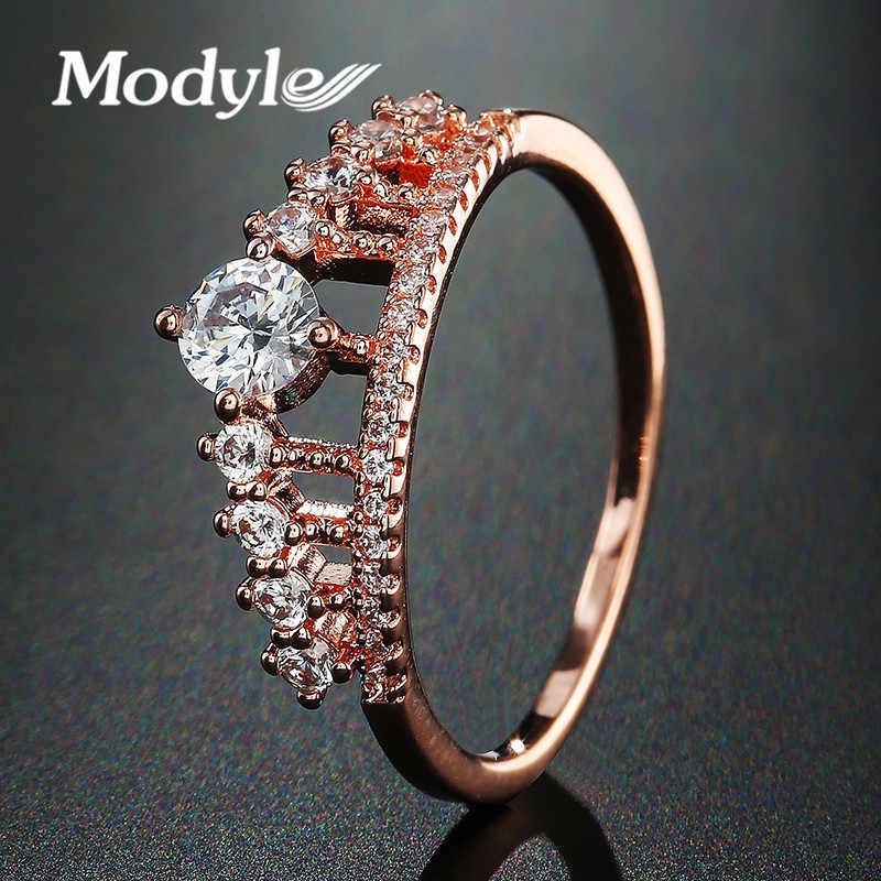 8d4d3330ee08 Modyle Цирконий Корона Кольца для Для женщин Мода розовое золото цветное ...