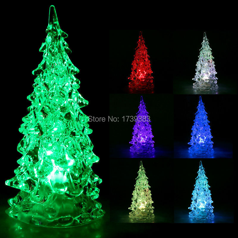 10pcs/lot LED Cristmas Tree Decorations New Year Christmas Gift led Dream changing colors Crystal trees Ornaments for holidays