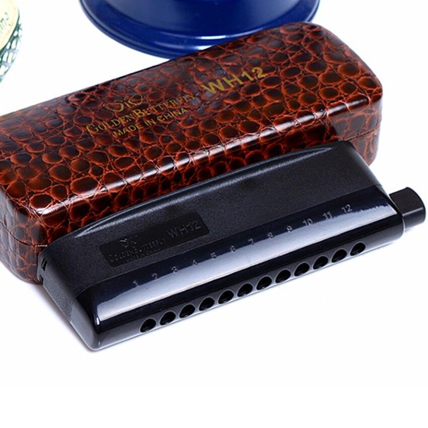 Papillon doré 12 trous Harmonica chromatique haute qualité professionnel vent noir Instrument de musique bouche orgue cadeaux
