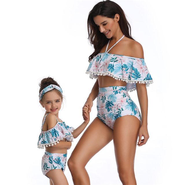 2019 New Women Strapless Shoulder High Waisted Bikini Open Back Swimwear Family Matching Swimsuits For Girls Baby Children Kids