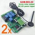 Entrega rápida Expresso 2 conjuntos placa de Relé de Controle Remoto GSM com Sete saída Interruptor Do Relé Real-Time GSM QUAD projeto banda