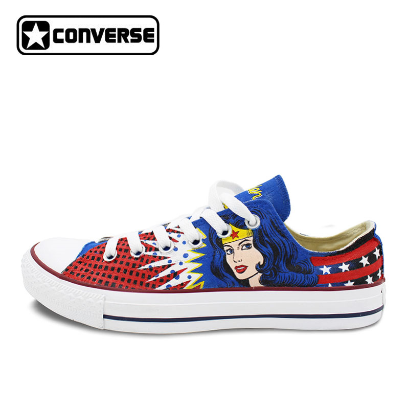 цены Classic Low Top Converse All Star Women Men Shoes Wonder Woman Design Custom Hand Painted Shoes Canvas Sneakers Unique Gifts