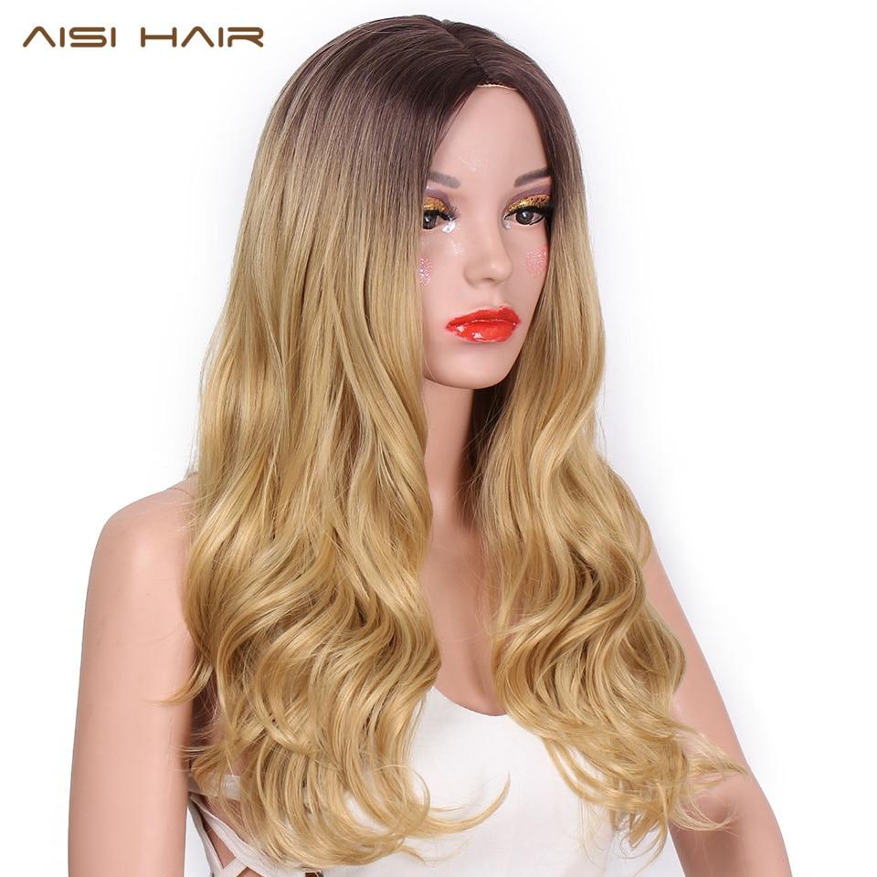 AISI HAIR 26-дюймовий блондинка перука-омбре з синтетичним довгим хвилястим натуральним волоссям