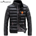 Winter Men's Duck down jacket PU Leather OverCoat Male Fashion Warm OutdoorWear Stand Collar Slim Thickening Snow Jackets Man