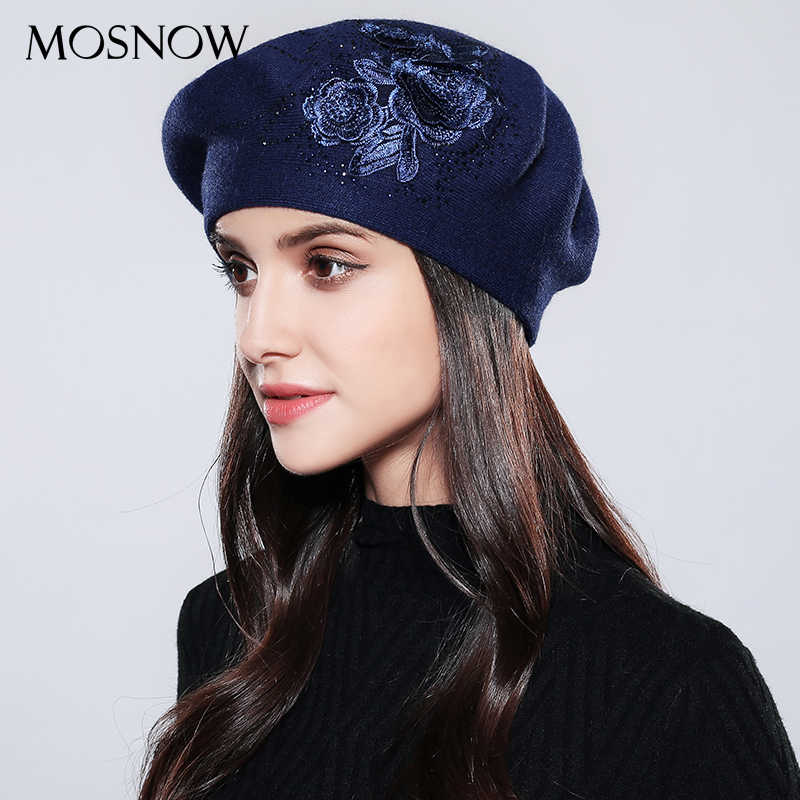 Women Beret Elegant Flower Rhinestones 2019 New Autumn Winter Rabbit Wool High Quality Knitted  Female Hats Caps  #MZ740