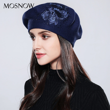 MOSNOW Women Beret Elegant Flower Rhinestones 2018 New Autumn Winter Rabbit Wool High Quality Knitted Female Hats Caps #MZ740