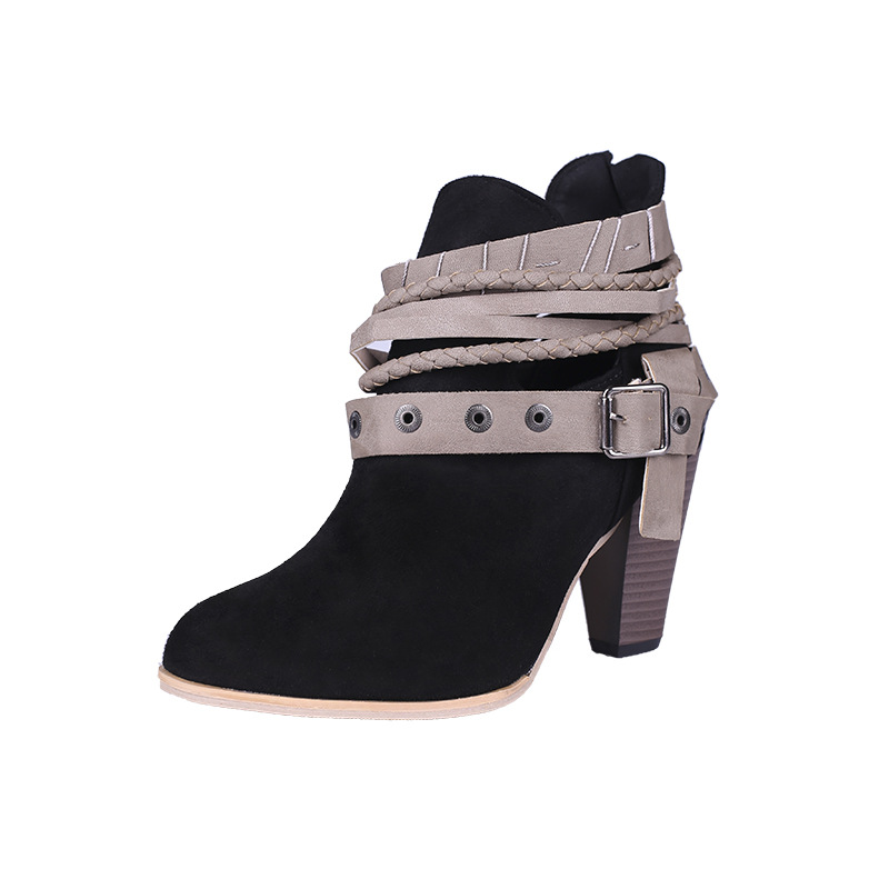 2018 autumn new European and American large size thick with back zipper belt buckle womens boots black ljj 11192018 autumn new European and American large size thick with back zipper belt buckle womens boots black ljj 1119