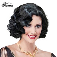 Adult Ladies 1920s Vintage Short Curly Flapper Girl Headwear Wavy Hair Cosplay Womens Halloween Fancy Dress Costume Accessories