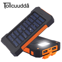 Tollcuudda Waterproof 10000Mah Solar Power Bank Solar Charger Dual USB Power Bank With LED Light For