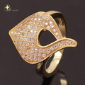 New 2014 18K Gold Plated Brass Micro Pave White CZ  Hollow  lord Sweet Gig Rings for Women Men Girls Fashion Jewelry XYR100968