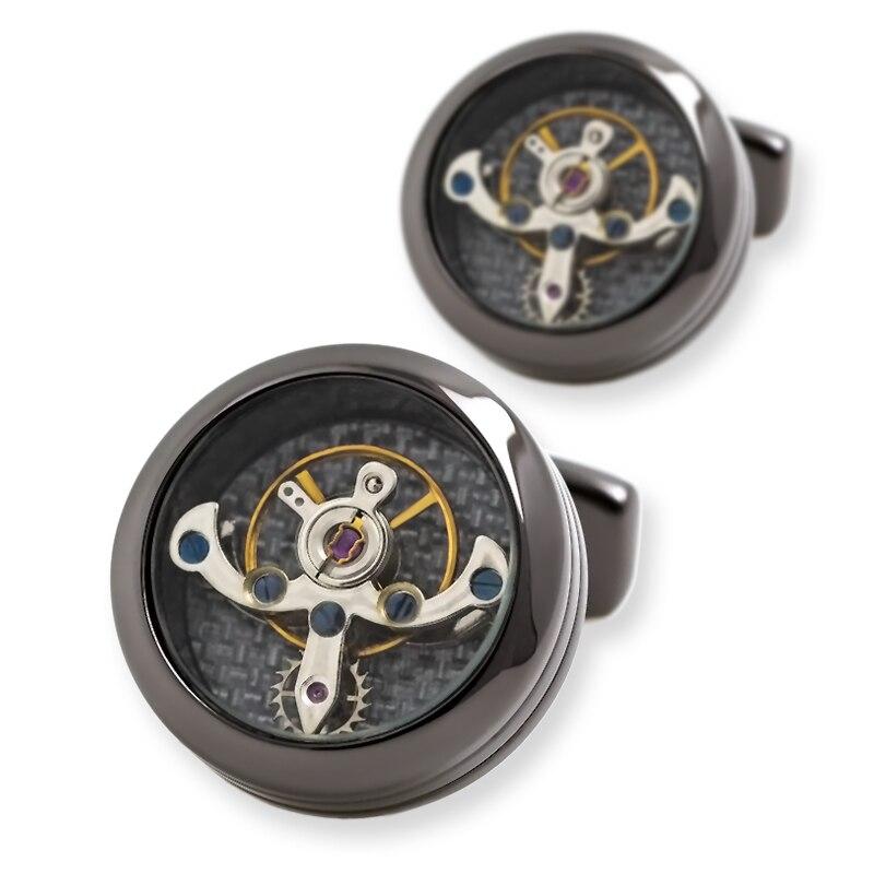 Mancuerna de la camisa de la joyería de kflk para el mens reloj mecánico movimiento cuff Link alta calidad tourbillon envío gratis - 3