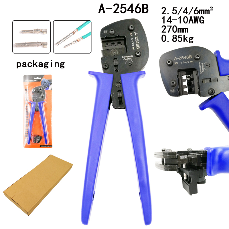 A-2546B crimping pliers MC4 pv line pressing pliers capacity 2.5/4/6mm2 14-10AWG solar connector labor-saving tools 270mm 0.85kg 1pc vh3 6bj new generation of energy saving crimping pliers foinsulated terminals capacity
