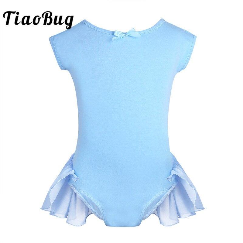 TiaoBug Children Girls Cotton Chiffon Raglan Cap Sleeves Dance Wear Gymnastics Ballet Leotard Bodysuit Kids Stage Dance Costume