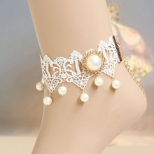 Handmade Womens Gothic Tassel Gold Faux Pearl Drop Floral White Lace Ankle Anklet Metal Bracelet Sandals Barefoot Lolita Bridal
