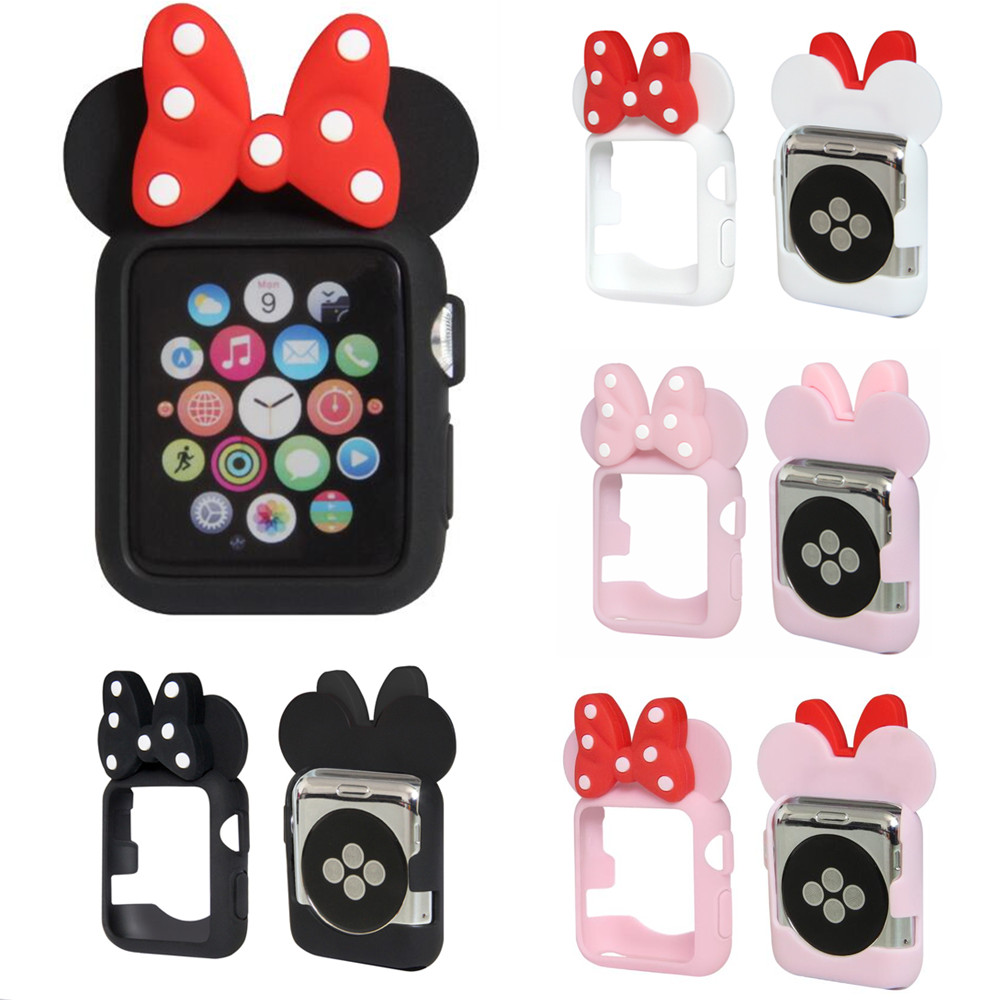 Details about Cute Cartoon Lovely Minnie Mouse Ear Tie Soft Silicone Case fr Apple Watch Cover