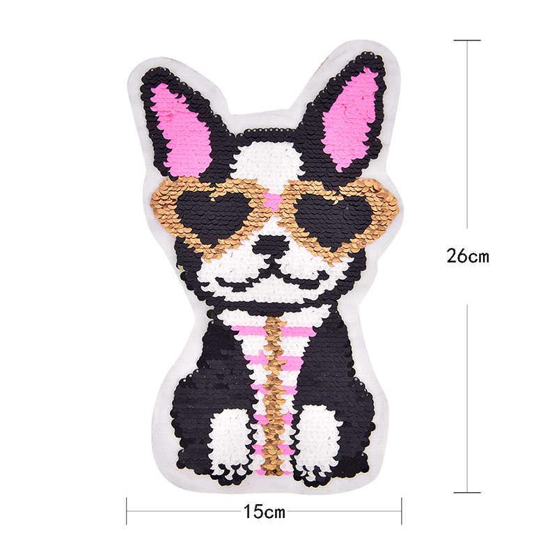1 Pc Bonito Bulldog Francês com Gravata borboleta De Seda/Cabeça/Vidros Do Coração Do Cão Broche Patch Emblema Bordado Tecido amantes remendo Bulldog