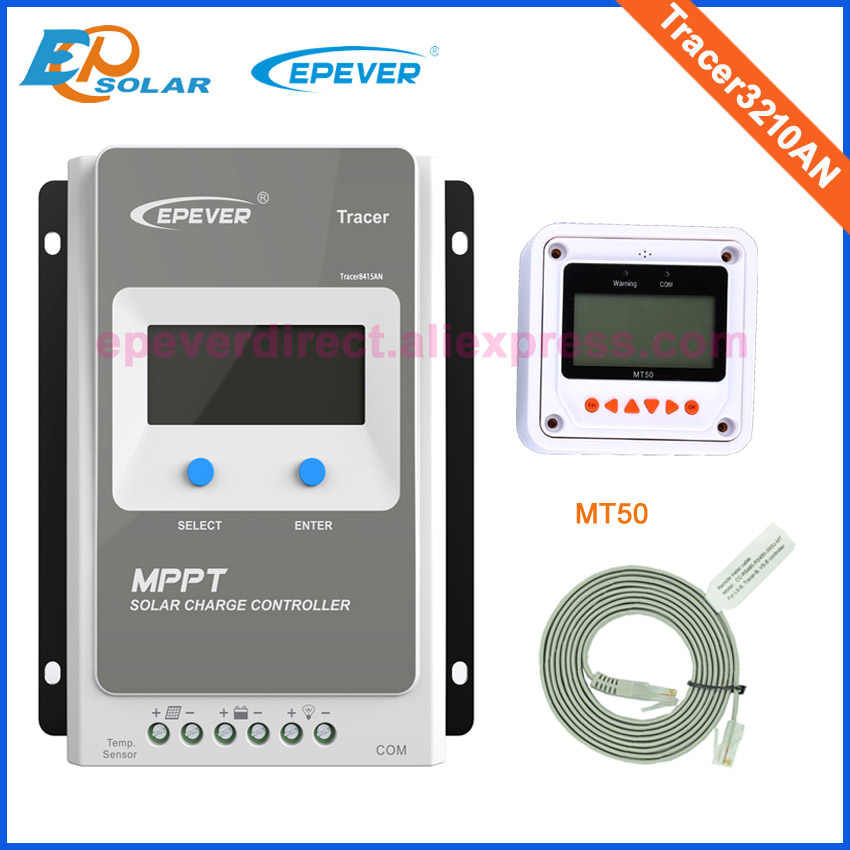EPEVER MPPT kontroler ładowarki słonecznej 30A 12v 24v auto Tracer3210AN z MT50 miernik zdalny maks. Wejście Pv 100v EPsolar z eBox
