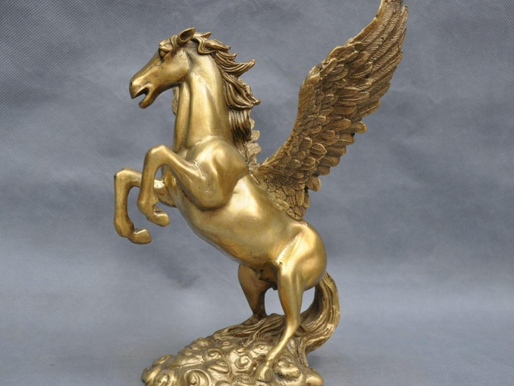 8 ''Chine Pur Bronze Ailes Flying Horse Statue