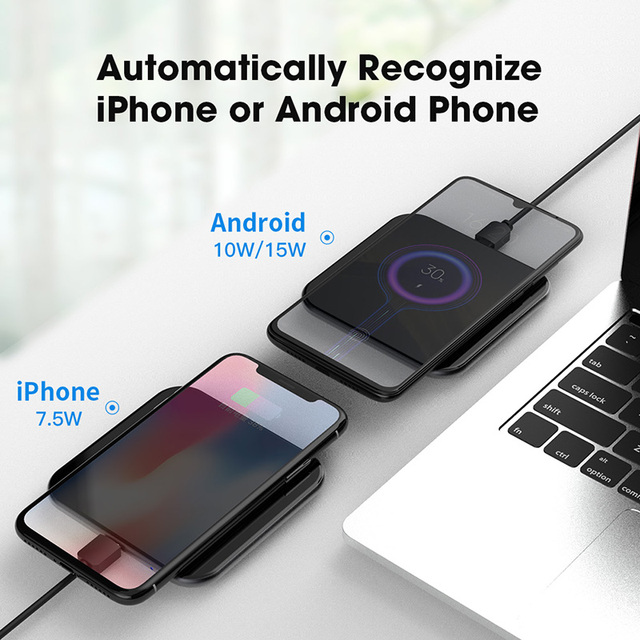 15W QI hurtiglading Trådløs hurtiglader usb type c QC 3.0 mobiltelefonstasjon For iphone samsung s9 xiaomi