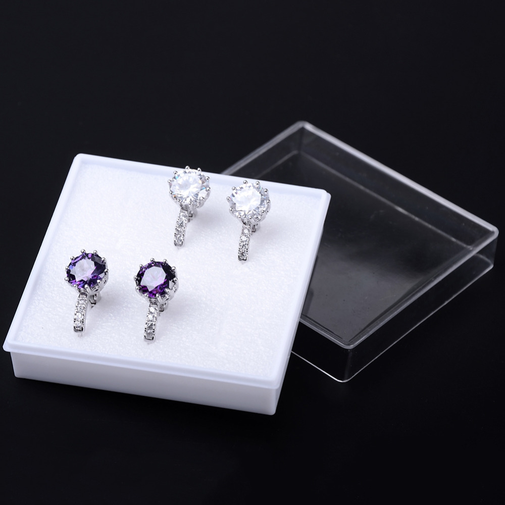 5pcs/Lot Transparent Acrylic/Plastic Earrings Box For Display Jewelry Bracelet Ring Packing Carrying Cases Gift Boxes 6*6*2cm