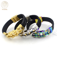 Handmade Genuine Leather Weaved Double Lay Man Leather Bracelets 20 5cm Bicycle Motorcycle Delicate Cool Men