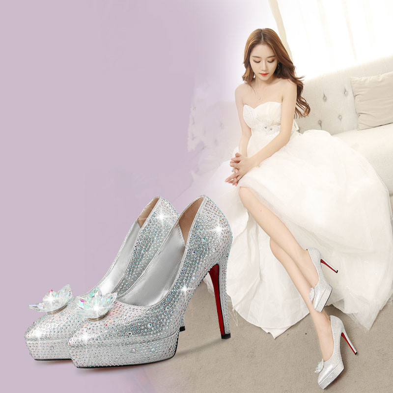 New arrival RED/silver big rhinestone pointed toe shoes crystal women's wedding shoes high heel platform shoes party pumps