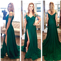 Elegant Green  V NeckLong Ruffles Split Crystal  A-Line Zipper  Evening Dresses Prom Party Gowns Vestido De Festa Robe De Soiree