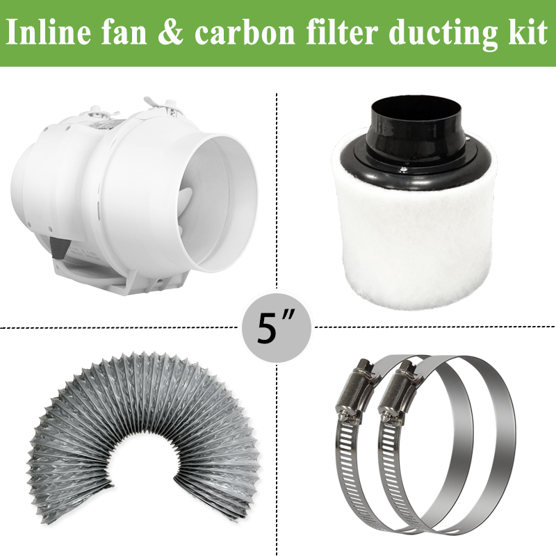 5 Inline duct Fan ducted ventilator& Carbon Air Filter&Ducting for Complete Grow Tent Kits Plant Growing 125mm5 Inline duct Fan ducted ventilator& Carbon Air Filter&Ducting for Complete Grow Tent Kits Plant Growing 125mm