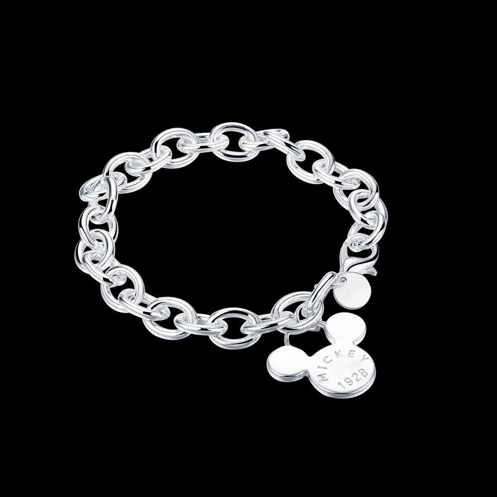 Click here!! Modis Wanita Perhiasan Perak Rantai Gelang Mickey Accesorios  Pesona Klasik Gaya Hadiah efaf876ad0