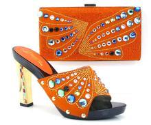 Ew ankunft fashion11cm peep toe talian schuhe mit passenden taschen set ORANGE neue mode steine blume Afrikanische schuhe und tasche sets