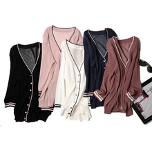 Hit Color Thin Women V Neck Knitted Casual Silk Linen Seven Quarter Sleeve Sweaters Cardigans Lady Knitting Outwear for Female