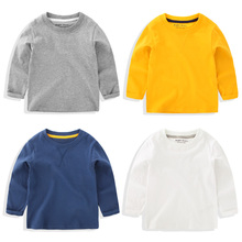 Boy's pure color long sleeve T-shirt in the autumn of 2016 the new Han edition baby U4314 render unlined upper garment to coat