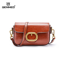 GENMEO Brand New Arrival Genuine Leather Shoulder Bag Female Cow Leather Handbag with Metal Ring Button Feminina Tote Bags Bolsa cow leather tote bag brand 2018 bolsa feminina new women handbag 100% genuine leather honorable shoulder bag free shipping