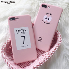 Crispyfish LUCKY 7 Pc hard case for iphone 6 6s 6plus 6splus 5s Smile Pink back cover phone skin For 7 7Plus