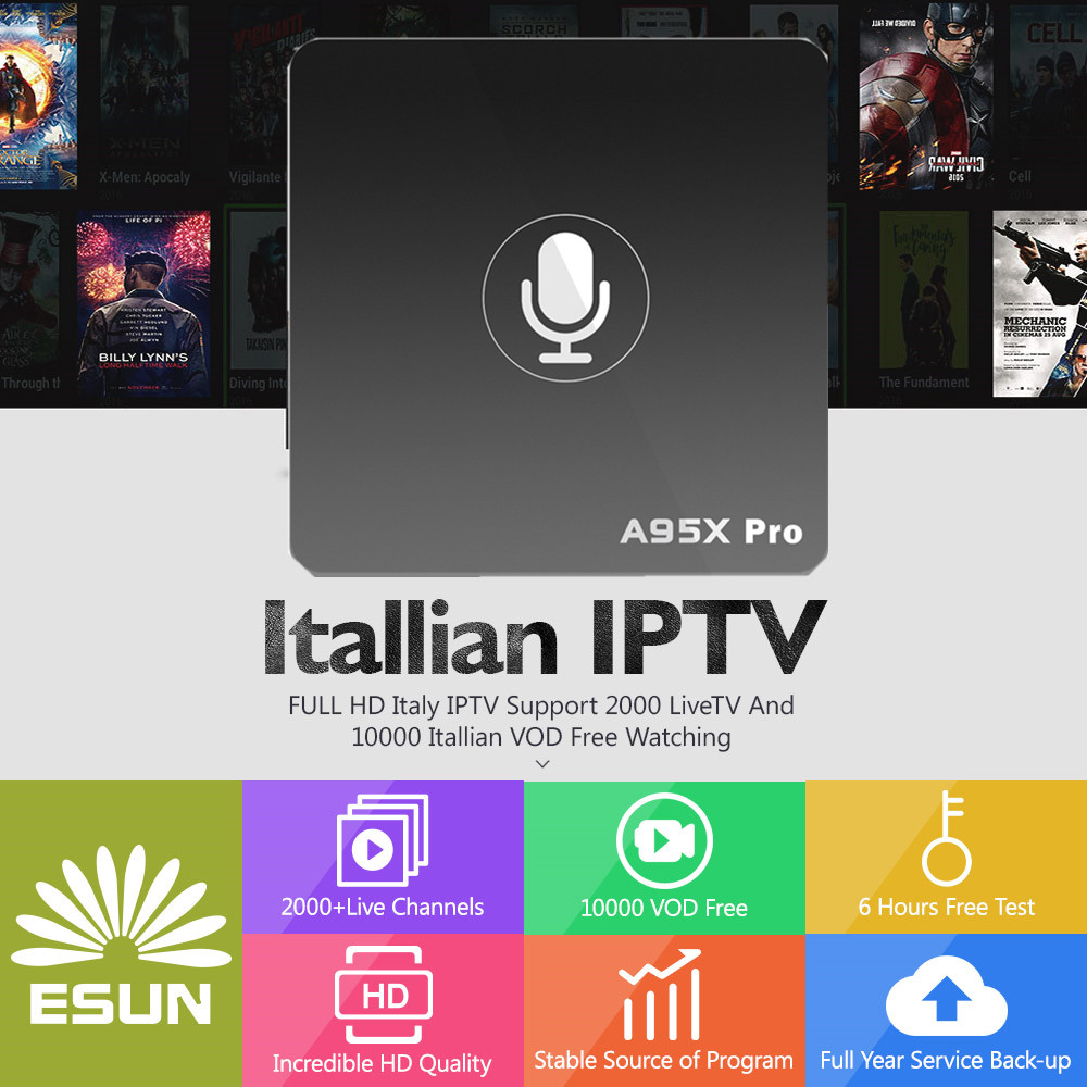 Italy IPTV A95X Pro Voice Control With 1 Year Box 2G/16G Italy IPTV EPG 4000+Live+VOD configured Europe Albania ex-yu XXX h96mini italy iptv a5 tv box with 1 year 4g 32g italy iptv epg 4000 live vod configured europe albania ex yu xxx channels box