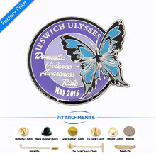 Custom Company Logo Publicity Pin Badge cheap factory oem Tinplate Souvenir Plating badges pin