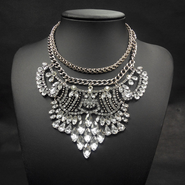 2014 new fashion necklace Vintage silver big chunky chains statement choker long necklaces pendants jewelry collar for women