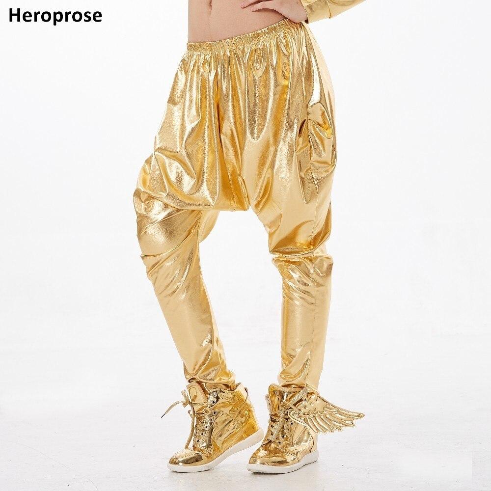 Aggressivo Heroprose Nuova Personalità Bambini Di Età Big Cavallo Basso Pantaloni Oro Costumi Di Prestazione Della Fase Baggy Harem Hip Hop Dance Pantaloni Attillati Pantaloni
