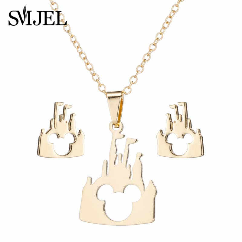 SMJEL الفولاذ المقاوم للصدأ لطيف الغزلان أقراط صغيرة الذهب طقم مجوهرات للنساء إِلْكَة عيد الميلاد ندفة الثلج القلائد المعلقات كولير